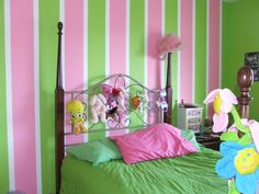 Girls Rooms Painting Ideas | we took this young ladies favorite colors pink and green and painted ...