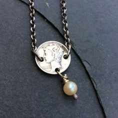 Mercury Dime with Pearl Sterling Silver Necklace by mLindvall on Etsy
