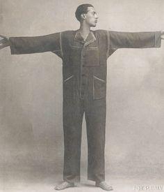 The Italian illustrator Thayaht models his one-piece jumpsuit 'Tuta' c.1920.