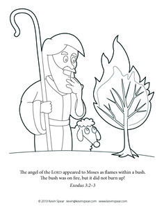 coloring page of moses the caption reads the angel of the lord appeared to moses as flames within a bush the bush was on fire but id did not burn up