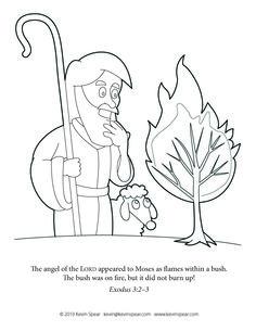 Moses BurningBush Coloring Page And The Burning Bush
