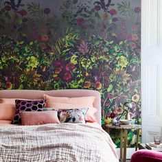 Weekend plans 💗 featuring our Indian Sunflower wallpaper design and home accessories as featured in Bedroom Inspo, Bedroom Decor, Master Bedroom, Interior Styling, Interior Design, Sunflower Wallpaper, Crochet Home Decor, Wallpaper Decor, Designers Guild