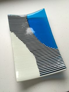 Fused glass - Vanilla and sky blue strip construction dish