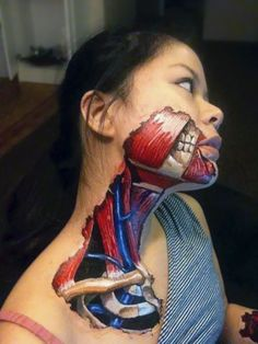 The Most Unique Face Painting - Anatomic neck and jaw