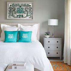 Karen Robertson's seashell mosaic is the center of attention in her master bedroom. | coastalliving.com