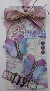 Beautiful - butterfly card made with recycled quill/fountain pen nibs.