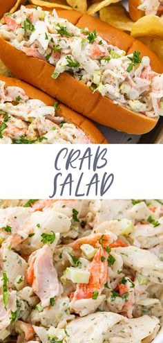 This crab salad is a flavorful take on seafood salad, made with imitation crabmeat, celery, green onions, mayonnaise, and some Old Bay seasoning for tons of flavor. Delicious with crackers or stuffed into buns for an inexpensive but delicious play on lobster rolls! Immitation Crab Salad, Immitation Crab Recipes, Lobster Salad, Seafood Salad, Shrimp Salad, Sea Food Salad Recipes, Healthy Seafood Recipes, Cooking Recipes, Healthy Nutrition