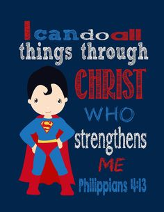 Super Hero Wall Art I Can do all things through by PixiePaperSTL