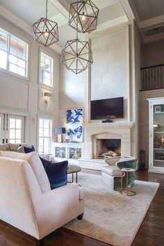 New Living Room With Fireplace Decor Tall Ceilings Ideas Tall Fireplace, Fireplace Built Ins, Home Fireplace, Living Room With Fireplace, Fireplace Design, New Living Room, Fireplace Ideas, Two Story Fireplace, Farmhouse Fireplace