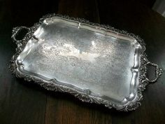 Huge Tray Vintage Footed Ornate Silverplate...