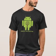 Embrace The Ecosystem (Bug Droid Brown Tree) T-Shirt. Producto disponible en tienda Zazzle. Vestuario, moda. Product available in Zazzle store. Fashion wardrobe. Regalos, Gifts. #camiseta #tshirt #programmer #nerd #sheldon