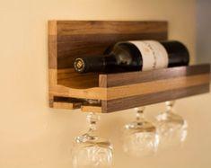 Wine Bottle Glass Holder, Wine Bottle Display, Glass Rack, Industrial Wine Racks, Rustic Wine Racks, Diy Storage Shelves, Wine Storage, Small Wine Racks, Wine Craft