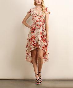 Love this Soiéblu Taupe & Coral Floral Hi-Low Dress by Soiéblu on #zulily! #zulilyfinds