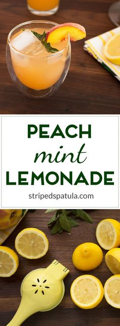 Sweetened with a fresh peach and mint infused simple syrup, this lemonade tastes like summer in a glass. It's easy to make, too!