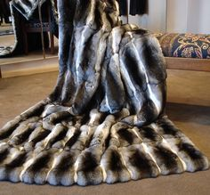 Natural Chinchilla Fur Throw custom-made at David Appel Furs Beverly Hills