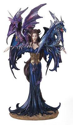 MIDNIGHT-BLUE-ELVEN-FAIRY-WITH-TWO-DRAGONS-FIGURINE