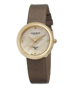 Loving this Goldtone & Diamond Dial Satin-Strap Watch on #zulily! #zulilyfinds