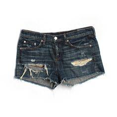 Pre-owned Rag & Bone/JEAN Denim Shorts ($22) ❤ liked on Polyvore featuring shorts, dark blue, jean shorts, dark blue jean shorts, denim shorts, short jean shorts and denim short shorts