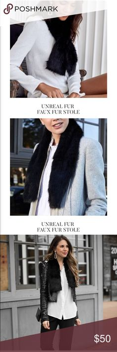 """NWT RZ box of style """"Unreal Fur"""" faux fur stole Brand new from the Rachel Zoe winter 2017 box of style. Faux fur black stole. Accessories Scarves & Wraps"""