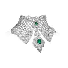 Farah Khan diamond and emerald choker. Read the featured Jewellery article on The Jewellery Editor by Maria Doulton  Article Link : An interview with India's jeweller to the stars Farah Khan - http://www.thejewelleryeditor.com/2013/05/an-interview-with-indias-jeweller-to-the-stars,-farah-khan @FarahKhanAli @TheJewelleryEd  Must see: The Brand intro video http://youtu.be/CUawUZN84aY  #Article #FKFJ #FKFJDesign #Choker #Emeralds #Diamonds #FarahKhanFineJewellery