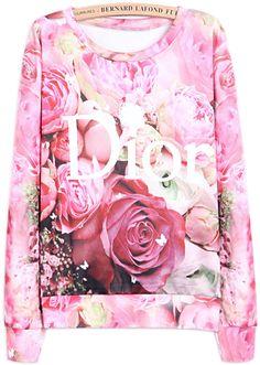 Sweat-shirt à imprimé lettres et roses -rouge    EUR€22.71