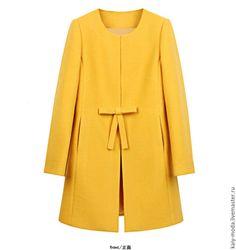 """Купить Пальто демисезонное """"Одуванчик"""" - лимонный, однотонный, пальто, пальто демисезонное, желтое пальто"""