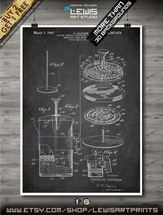 Coffee Pot French Press Charles Kasher 1967 Ketchen Art Poster  ******* BUY 2 GET ONE FREE ******************************************* • Buy the