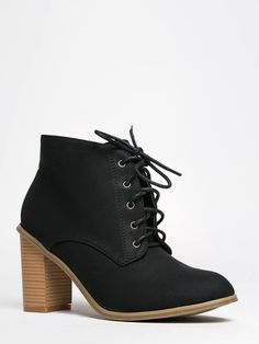 - Lace-up oxford booties come in soft and comfy vegan nubuck with polished eyelets and a stacked heel. - This menswear inspired ankle boot is simply flawless and easy to walk in! - Non-skid sole and c