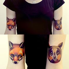 http://www.noregretsstudios.co.uk/watercolour-like-tattoos-by-sasha-unisex/ Matching Fox and Owl Tattoos By Sasha Unisex