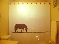 Lonely Horse SHOWER CURTAIN Western theme by CustomShowerCurtains, $65.00