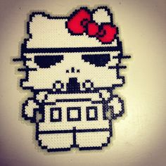 Glow in the dark Stromtrooper Hello Kitty hama perler beads by pagey163