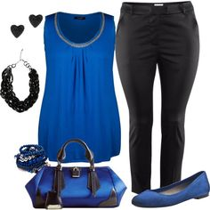 Blue & black plus size, created by bkassinger on Polyvore