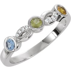 Custom Sterling Silver; 10k or 14k White Gold 3 4 or 5 Stone Accented Personalized Mothers Birthstone Ring by SparkleNJade on Etsy https://www.etsy.com/listing/257879551/custom-sterling-silver-10k-or-14k-white