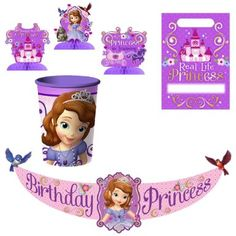 Amazon.com: Disney Junior Sofia the First Party Decorations Pack Including Birthday Banner, Tabletop Decoration, Favor Bag and 16 oz Cup: To...