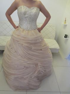 Pastel Cream Beige And Silver Wedding Gown Bridal With Beadwork Organza Ball
