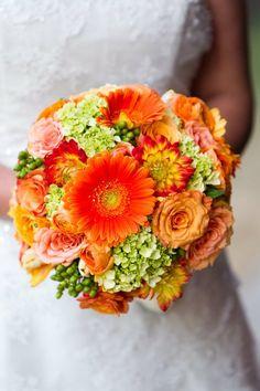 Orange and green wedding bouquet.
