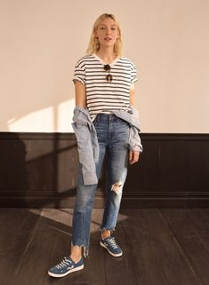 2377663f198f3 madewell perfect summer jean  destructed edition worn with easy crop tee