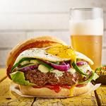 fried egg and green chile burgers