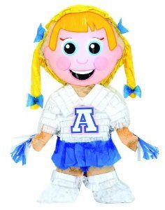 Aztec Imports Cheerleader Pinata by Aztec Imports Inc.. $19.99. Made of cardboard and tissue paper. Includes opening for filling pinata. Makes great decoration and fun party game at theme birthday parties. Pinata can be filled with up to 2lbs of toys and candy. Includes strong cable tie at the top for hanging pinata. From the Manufacturer                Blonde cheerleader with ponytails, blue skirt and pompoms.                                    Product Description ...