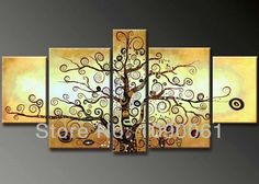hand-painted-abstract-canvas-acrylic-painting-trees-picture-5-panel-moden-living-room-decorations-wall-art-set-unframed-8797.jpg (649×463)