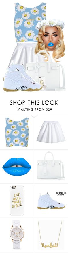 """""""Sunshine baby"""" by chiamaka-ikaraoha ❤ liked on Polyvore featuring Motel, H&M, Lime Crime, Yves Saint Laurent, Casetify, NIKE and Michael Kors"""