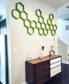 Hexagon shelf/honeycomb shelf mural made using shelves purchased on Etsy. Link added here!!