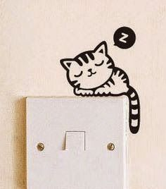 Sleeping Cat Light Switch Decal Wall by AngelRoom Wall Murals, Wall Art, Wall Décor, Cat Wall, Cat Light, Wall Drawing, Wall Stickers, Vinyl Decals, Stencil