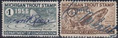 Michigan Trout Stamp. Department of Conservation.1950 & 1956.