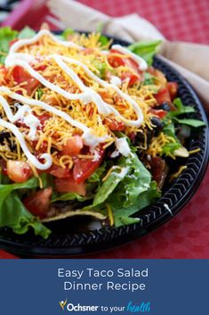 Skip the taco shell and still enjoy a delicious, filling taco salad. Salad Recipes For Dinner, Dinner Salads, Tacos, Shell, Healthy Recipes, Ethnic Recipes, Easy, Food, Dinner Salad Recipes