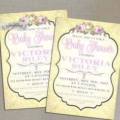 Pink and Yellow Baby Shower Invitations Girl Shabby Chic Whimsical Design Vintage Garden Tea Party Baby Sprinkle Printable File NO.675