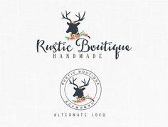 Boho Chic Deer Antler Logo design Boutique Logo Rustic design