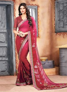 This online shop has a great selection of saree. Grab this georgette maroon casual saree for casual and party.