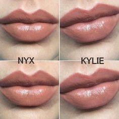 Kylie Jenner 'Like' lipgloss vs NYX liquid lipstick in 'Skin Tone'