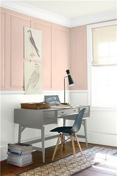 Look at the paint color combination I created with Benjamin Moore. Via Upper Wall: Palladian Blue Lower Wall: Spring Morning Trim & Ceiling: Steam Benjamin Moore Paint, Benjamin Moore Colors, Pink Paint Colors, Wall Colors, Gray Paint, House Colors, Palladian Blue, Stonington Gray, Paint Shades